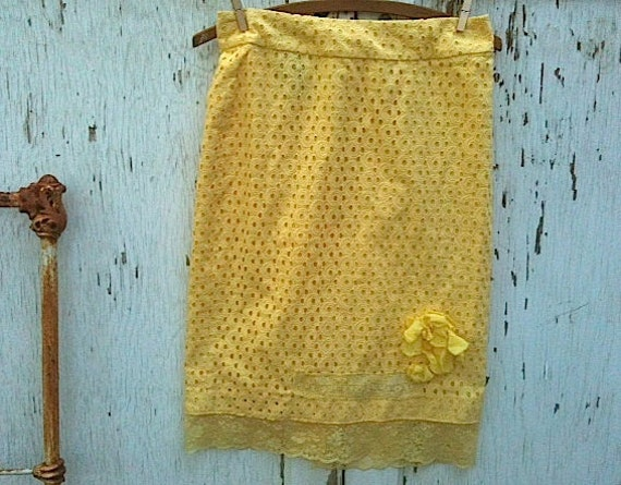 FOR TRICIA Winter  yellow flowers daffodils daisies slim skirt brand new talbots skirt upcycled embellished lovely party girl