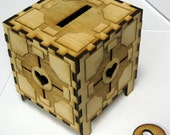 Companion Cube Coin Bank Laser Cut, Fully Assembled Version