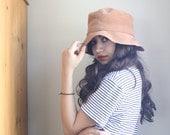 Beige Suede And Genuine Leather Floppy Hippie Hat. Beach Sun Hat.
