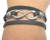 Black Leather Infinity Bracelet With Extender