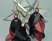 Red & Black Anodized Aluminum Dragon Scales Shaggy Earrings - 2 3/4""