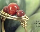 Poppy Jasper Semi Precious Gemstone, Wirewrapped Ring - Size 5 1/2