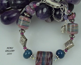 Lampwork Glass Bracelet with Thai Silver Pillow Beads - Teal Rainbows - 6 1/2""