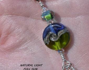 "Lampwork Glass Zipper Pull - Waves of Green & Blue - 3"""
