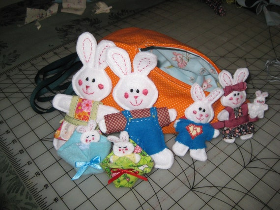 stuffed toy  rabbit family with carrot carrying pouch FREE SHIPPING1