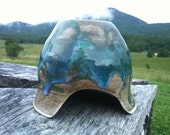 "Pottery Toad Abode, hand thrown stoneware glazed in ""Watercolor Celadon""  - Perfect for your garden -"