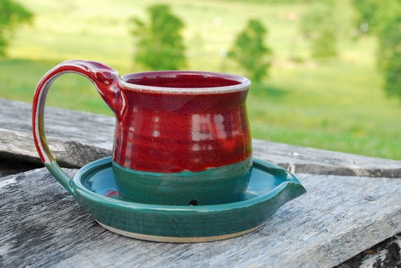 Red and Turquoise Bacon Cooker -  Hand thrown Pottery -  Microwave safe  -