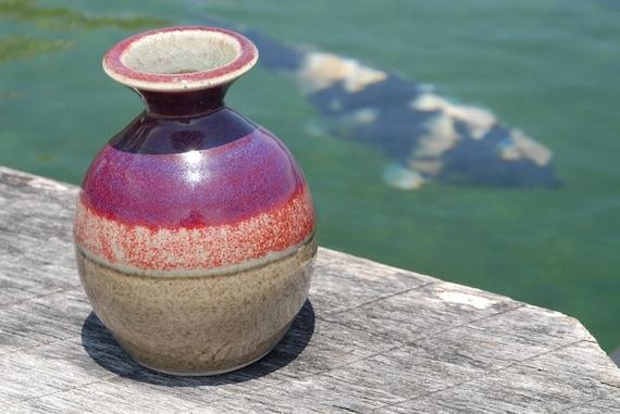 Stoneware Vase, Hand thrown pottery, round, red, purple and beige crackle glaze