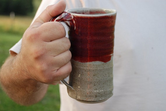 Hand thrown Pottery Man Mug with thumb rest - Red Celadon glaze - Microwave and dishwasher safe -
