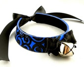 Black Embossed Swirl on Metallic Blue Leather Bow and Bell Collar Choker Necklace Goth Cosplay Kawaii Fantasy Wear