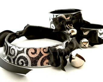 Silver Swirl on Black Leather Bow and Bell Collar Choker Necklace and Bracelets Goth Cosplay Kawaii Fantasy Fashion Wear