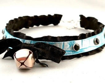 Blue Pearl Leather Black Ruffle Ribbon and Bell with Silver Studs Collar Choker Necklace Goth Kawaii Cosplay Lolita