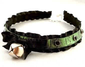 Metallic Emerald Green on Black Leather Ruffle Ribbon and Bell with Silver Studs Collar Choker Necklace Goth Cosplay Lolita Fantasy