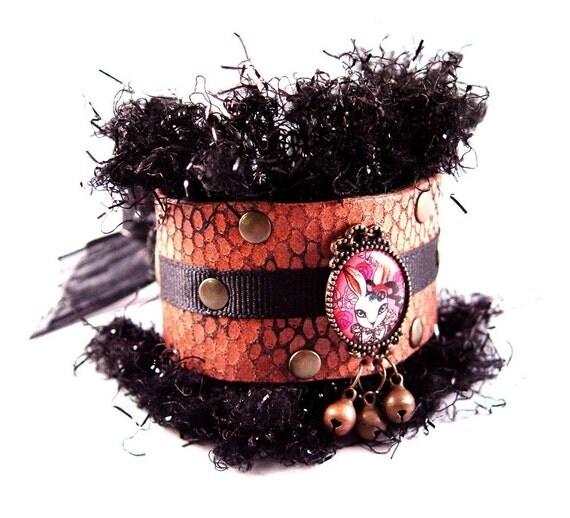 SALE Mr. Rabbit Pink Leather with Black Fluffy Fringe Cuff Bracelet Bracer Goth Lolita Kawaii Wonderland Alternative Fashion Wear