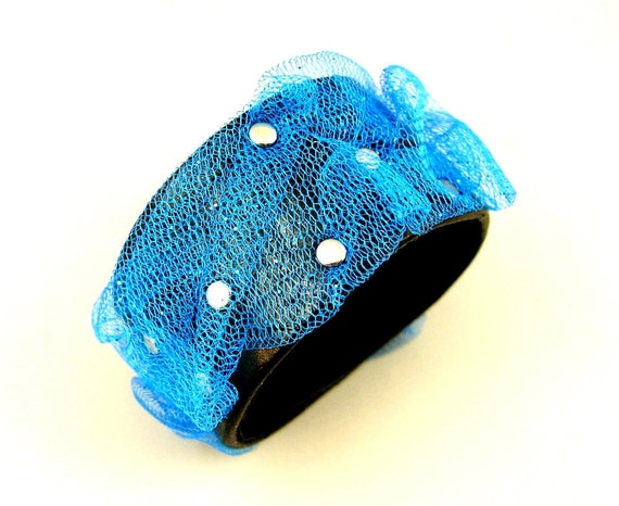 SALE Blue Ruched Sparkling Net with Silver Studs on Black Leather Cuff Bracelet Alternative Goth Punk Pin Up Fashion Wear