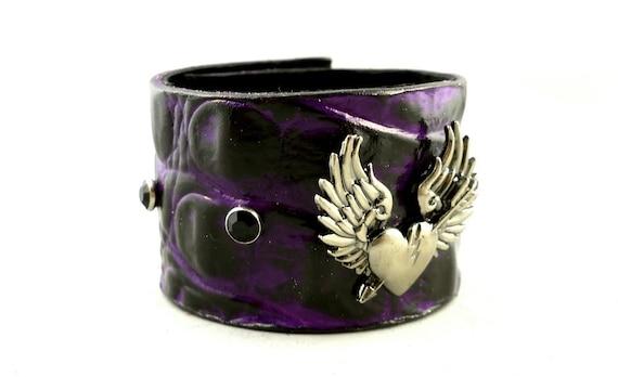 SALE Deep Purple and Black Winged Broken Heart  Leather Cuff Bracelet with Onyx Rhinestones Punk Rocker Goth Alternative Fashion Wear