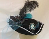 Pirate hat, turquoise  skeleton cameo