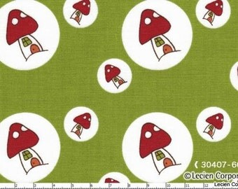 SALE - Woodland by Natalie Lymer for Lecien - Toadstool Spots in Green - 1/2 Yard