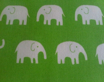 Daiwabo Japan Elephants in Green Cotton CANVAS - Cut Options Available