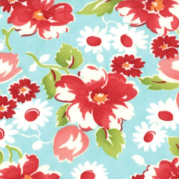 Ruby by Bonnie and Camille for Moda - Swoon in Aqua - 1/2 yard  - 100% Cotton