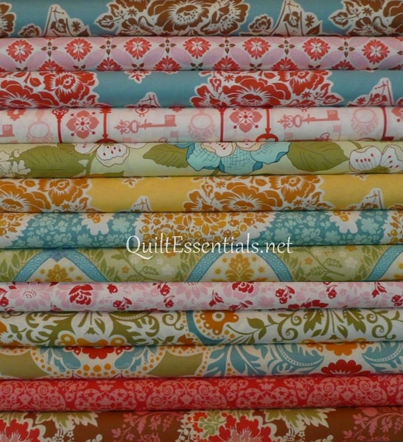 LAST ONE with Ironwork in Coral/Tapestry in Paprika - Secret Garden - Sunset Garden - 13 Half Yards