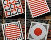 Set of Four Letterpress Cards, Orange and Grey