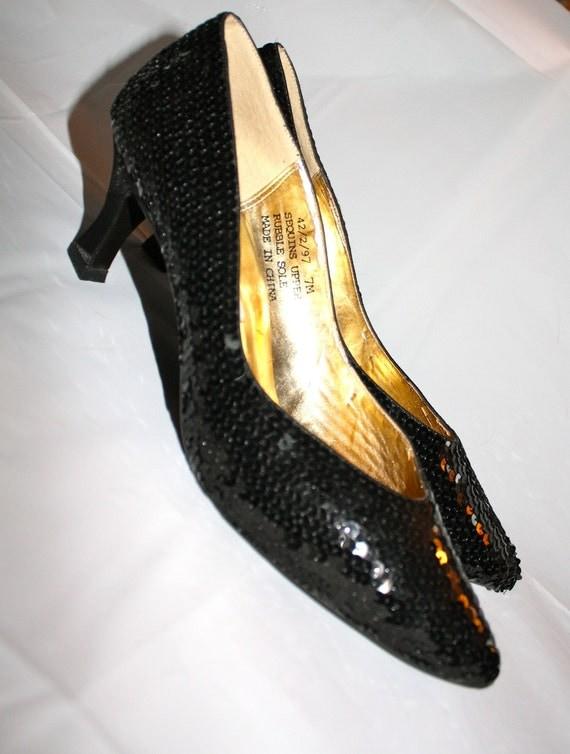 prom 80s black sequin heels 7 m dress shoes pumps