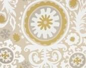 Window Curtains, custom drapes, very elegant, Suzani Twill in honey tan, pleated rod top