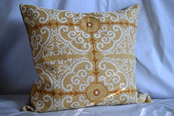SIngle, 24 by 24 inch Throw Pillow Cover, Mustard Lattice