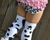Cow Print w/ Pink Ruffles Legwarmers