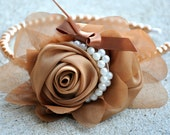 Reserved for {msslex} Vintage Inspired Bronze Tan Rose Pearl Headband
