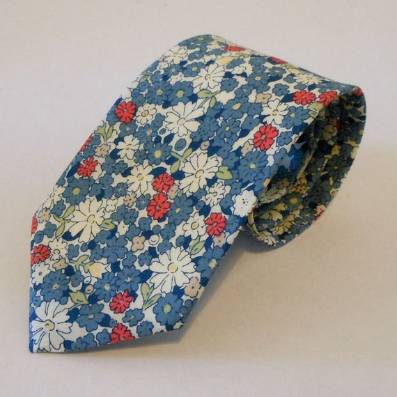 Necktie - French Blue with Pink Little Flowers