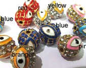 new style ball round  eye evil assortment  pave metal  spacers with color czech rhinestone findings 12mm 200pcs