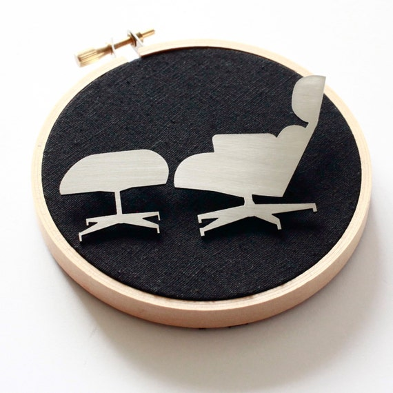 The Eames Chair - Reclaimed stainless steel brooch duo