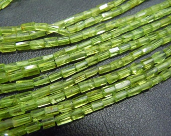 Peridot  Beads Peridot Tube Faceted Beads AAA Quality Size  2mm to 5mm approx 100% Natural Gemstone Wholesale Price