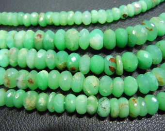 chrysophrase Faceted roundels beads - Size 8 to 10mm Approx 8 Inches -- AAA - Very Very Finest-- Apple Green