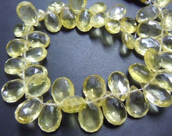 Lemon Quartz Briolette Faceted Pear Drops AAA Quality 8 inches  Size-5mm to 7mm approx Wholesale Price