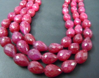 Ruby-Beads Ruby Corundum Briolette Faceted Tear Drops 8'' AAA Quality  Size 7to9mm approx Wholesale Price