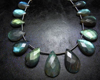 Labradorite Briolette Faceted Per Drops Gemstone  6 inches-11pc AAA Quality size- 10 To 10MM Wholesale Price