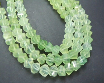 Prehnite Rondelle Beads Faceted Twisted Gemstone  AAA Quality 8 inches  size 7mm to8mm approx Wholesale Price