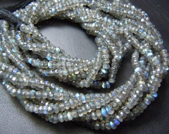 Labradorite Rondelle Faceted Beads Gemstone  AAA Quality 6 strands 14 inches  Size 3MM Approx Blue Fire Wholesale Price