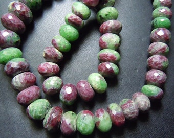 Ruby Zoisite Rondelle Faceted Beads Faceted Roundel Beads Huge Size 12mm Approx 8 Inches Top Quality  Wholesale Price
