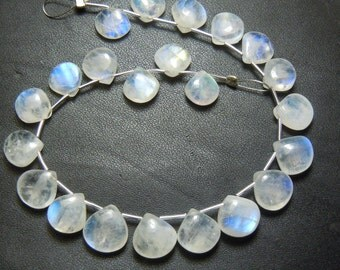 Rainbow Moonstone Gemstone Smooth Heart Shape Briolette Size -7 To 9MM Approx  7 Inches Gorgeous  Wholesale Price