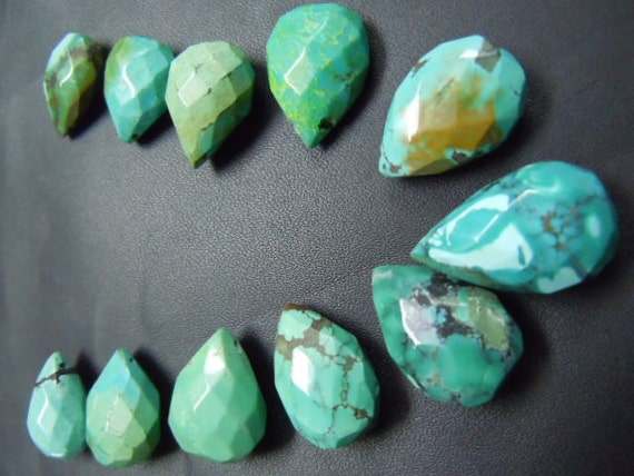 11 PC gorgeous Tibetan  turquoise faceted briolette pear drops super quality huge size 11x18 mm to15x25 mm approx