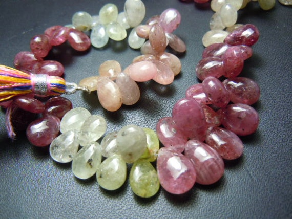 Multi Sapphire Briolette Smooth Pear Drops AAA Quality 8''  size- 7 mm to 10 mm Approx