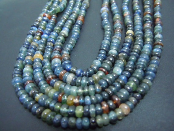 14 inches-top grade rare multi sapphire smooth beads roundel size 3to4mm approx