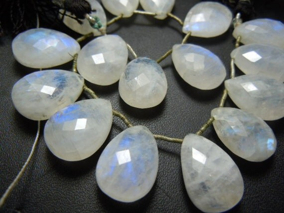 Rainbow Moonstone Briolette Faceted Pear Drops Gemstone  8 inches-8PC- Size -12x16mm Approx Wholesale Price