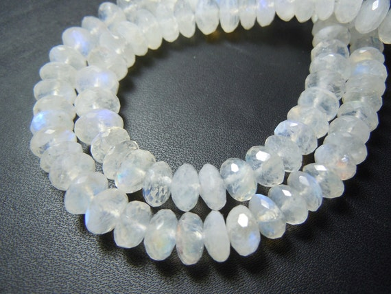 Rainbow Moonstone Beads Rainbow Moonstone Gemstone faceted Rondele beads AAA quality size 8mm approx 8 inches wholesale price