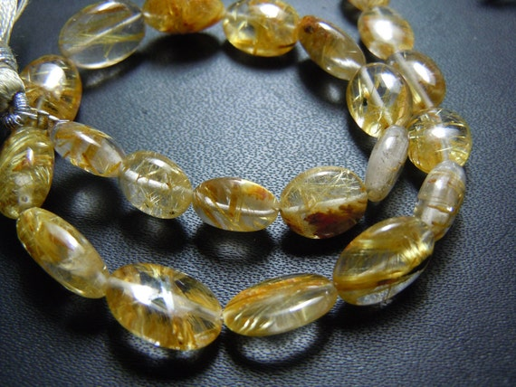 8 Inches AAA High Quality Golden Rutilated Quartz Smooth Oval Shape Beads 8MM To 10MM LongWholesale India