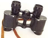 Vintage Binoculars Challenger Featherweight Leather Case Retro 1940 Collecltible Accessories Sports Hunting Fishing Opera